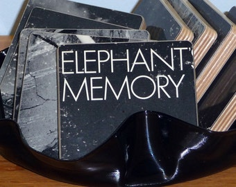ELEPHANTS MEMORY recycled album cover coasters with record bowl