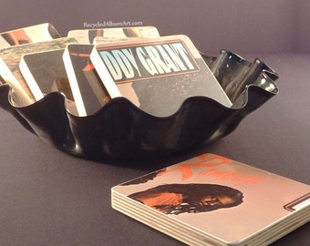 EDDY GRANT recycled album art coasters with vinyl record basket