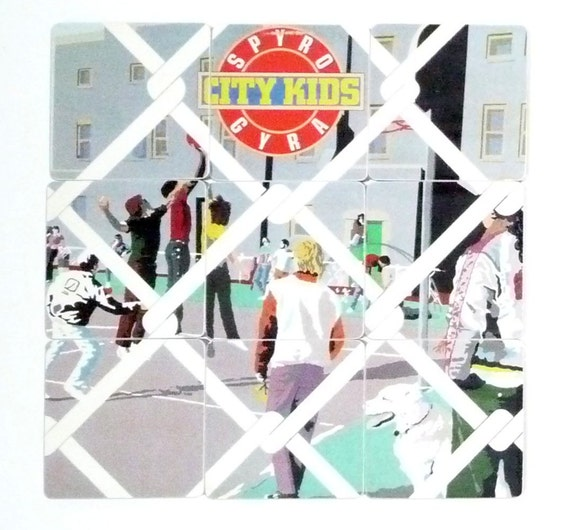 Spyro Gyra Upcycled City Kids Album Art Coasters and Wacky Record Bowl