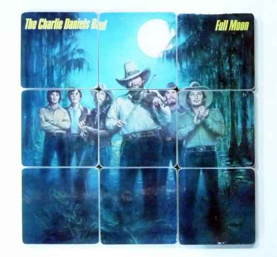 CHARLIE DANIELS BAND recycled Full Moon album cover art coasters with wacky record bowl