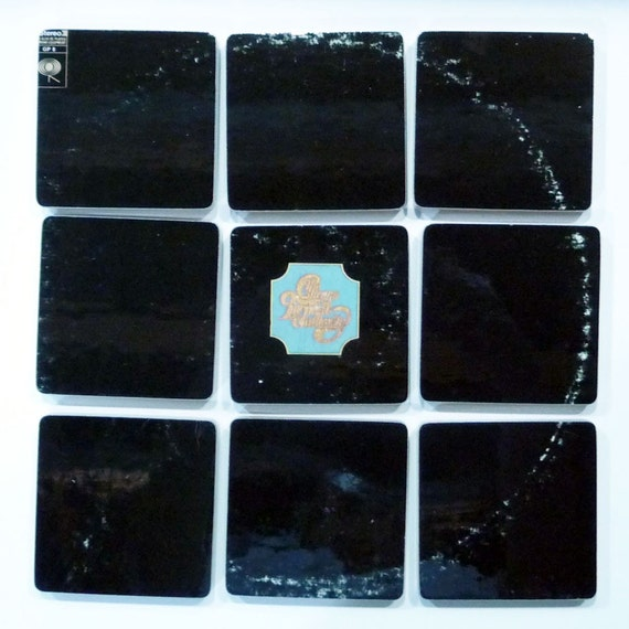 CHICAGO TRANSIT AUTHORITY recycled 1969 debut album cover coasters with wacky record bowl