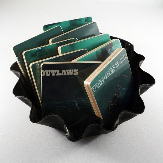 The Outlaws recycled Los Hombres Malo album jacket coasters with record bowl