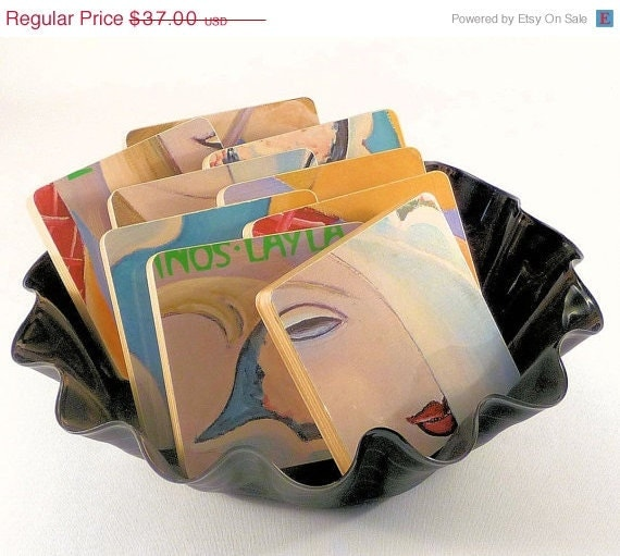 Holiday Sale OOAK Coasters and Basket from DEREK and the DOMINOS Record Album
