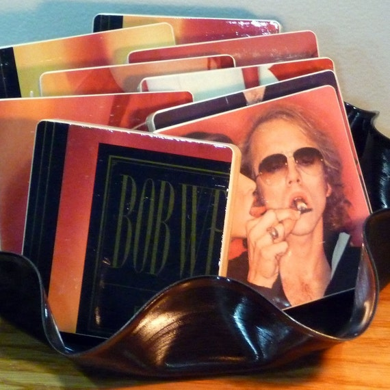 "BOB WELCH -  ""French Kiss"" Record Album Cover Coasters and Wacky Vinyl Bowl"