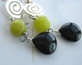 Black onyx earrings ,green jade and sterling silver