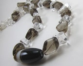 Clear Rock Crystal and Smoky quartz Necklace