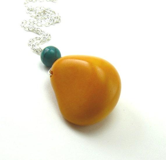 Tangerine Tagua pendant necklace