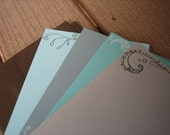 correspondence card set, blues and grays - set of 4