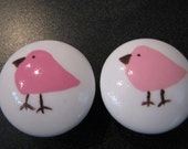 drawer knobs Hand painted drawer knob pink and brown birds