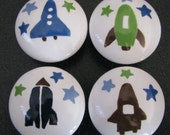 drawer knobs Hand painted drawer knob space rockets