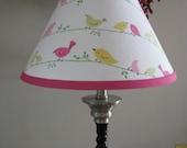 Penelope Bird Lamp Shade pink and green birds