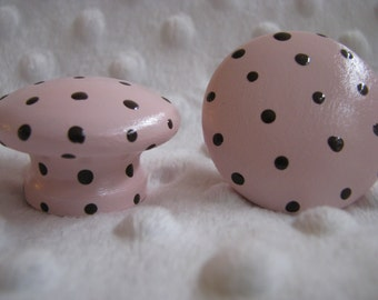 Pink and Chocolate Brown Polka Dots Drawer knobs