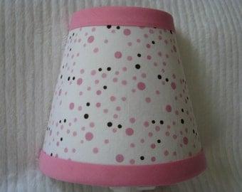 Pink and Chocolate Brown Polka dot Night Light
