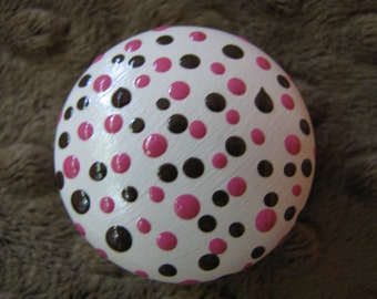 drawer knobs Pink and Brown Polka Dot Drawer Knob