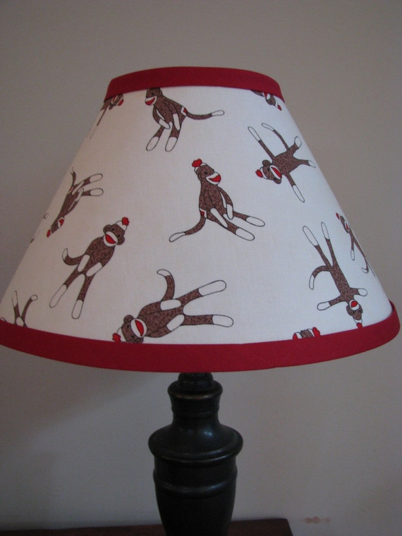 Sock Monkey Lamp Shade Bedroom Nursery Desk Baby Shower Gift