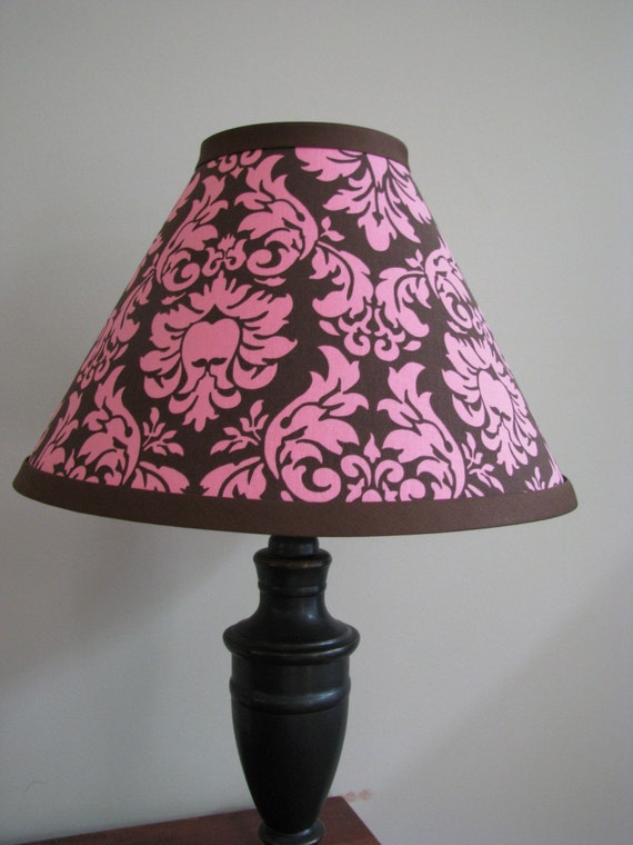 Pink And Brown Damask Lamp Shade Nursery Bedroom Kitchen