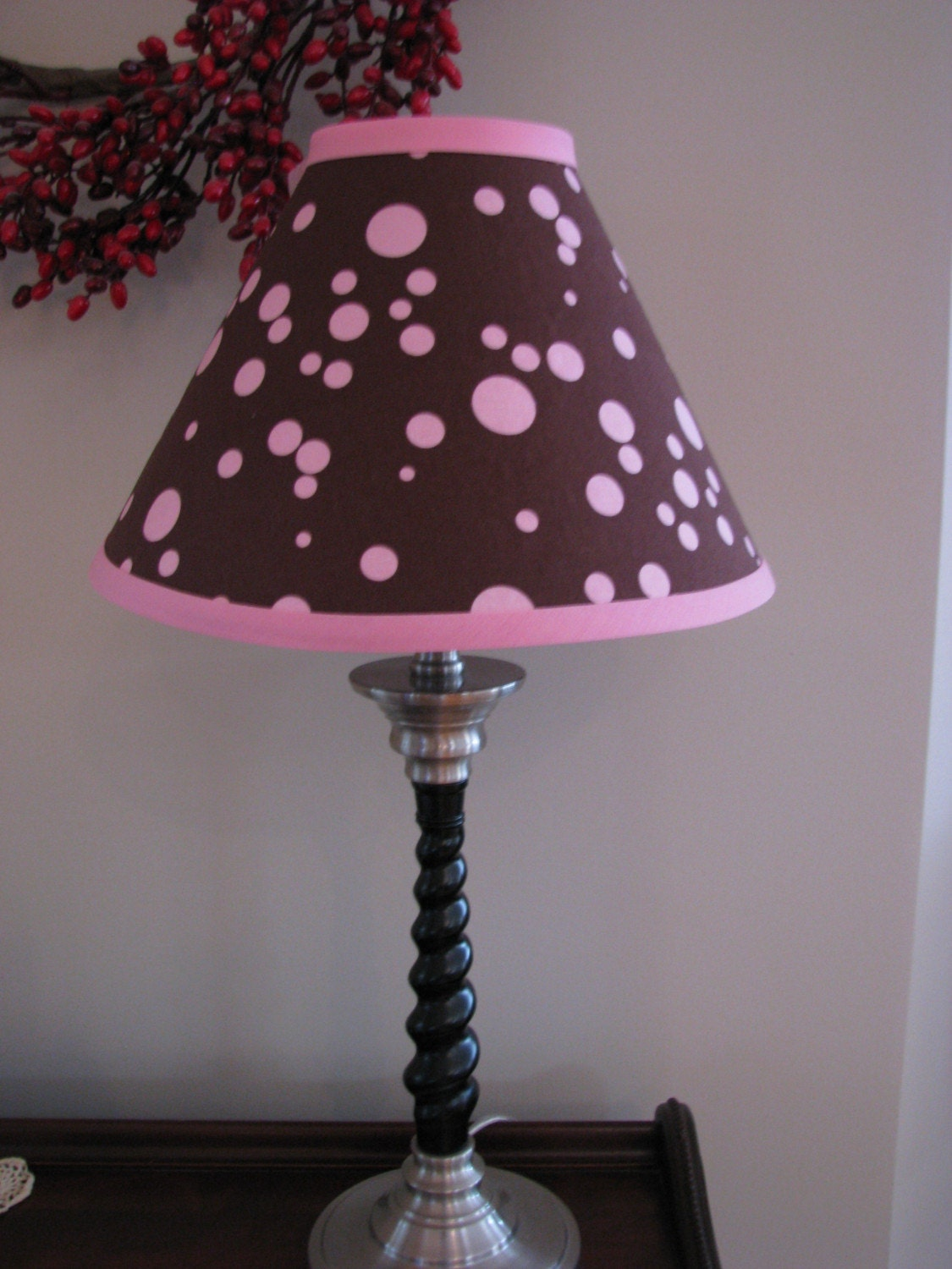 Pink And Brown Polka Dot Lamp Shade Babys Room Girls Room Bed