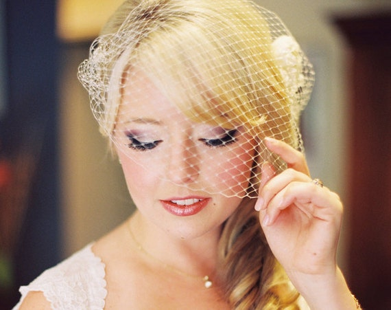 Bandeau Veil with Jewel. Made to order.