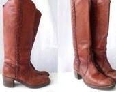 Miss Capezio Braided Riding Boots 7 7.5 Made in the USA Campus