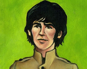 """George Harrison of the Beatles - 5""""x5"""" or 10""""x10"""" Painting Print"""