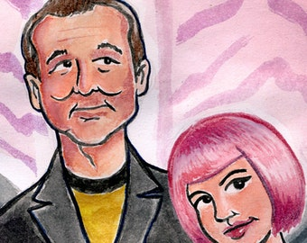 "Bill Murray and Scarlett Johansson ""Lost in Translation"" watercolor - 5""x7"" Postcard or 8""x10"" Print"