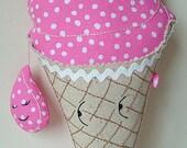 Ice Cream Cone Pillow Plushie - 10% Off Sale - Enter SEESUE10