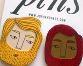 bearded pins (in red & yellow)