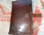 Brown leather planner, refillable, small, gold\/brass rings - Price TBD