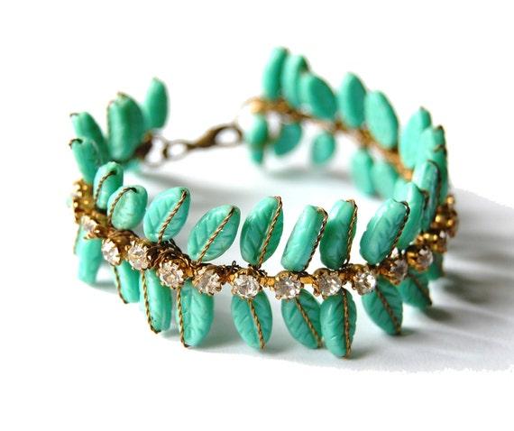 turquoise.rhinestone.leaf.bracelet