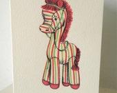 Happy Birthday  Stripey Horse Greeting Card