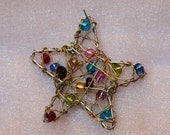 Wireworked Goldtone Star with Multicolored Beads Pendant or Suncatcher