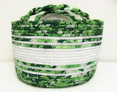 SALE - Large Fabric Coiled Basket in Greens and White
