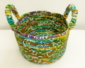 INVENTORY CLEARANCE - Med/Large Fabric Coiled Basket in Batik Multi-Color