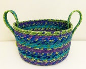 Large Fabric Coiled Basket in Multi-Color