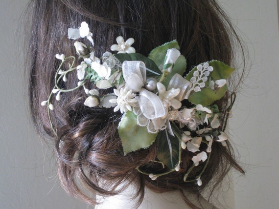 Floral Garden Bridal Comb one of a kind vintage flowers and leaves on sale