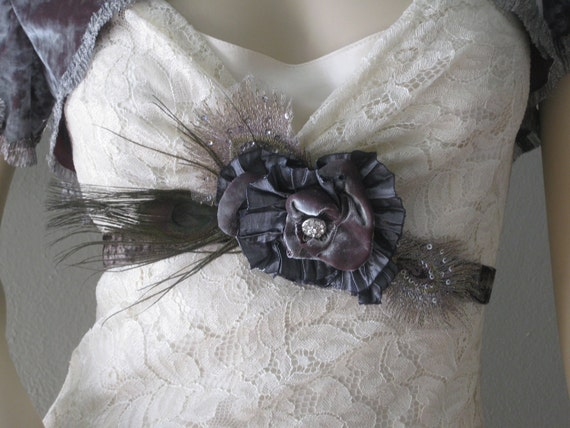 One Of a Kind Vintage Charcoal Velvet Ribbon Sash Peacock Feathers rhinestones
