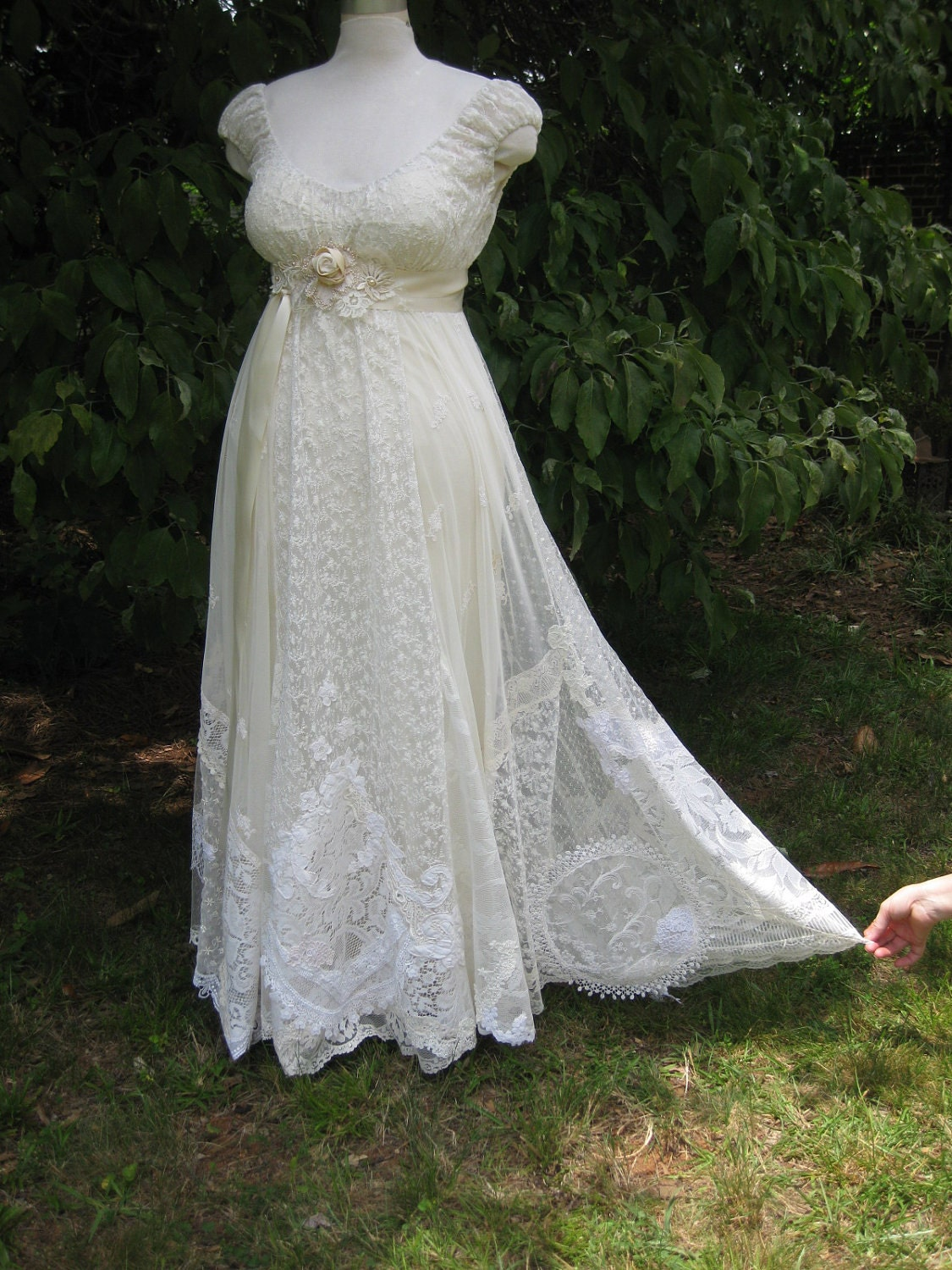 Hippie Ivory Lace Collage Wedding Dress