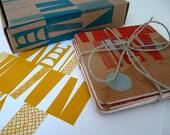 SALE ITEM - Screen Printed plywood coasters in Block pattern no.1 (Red)