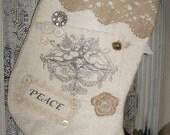 Vintage Christmas Stocking Winter White Vintage Stocking White Christmas Angel Stocking