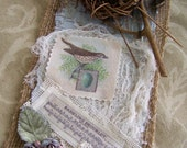 Vintage Nature Mixed Media Vintage Bird Spring Collage Original Bird Art Hanging
