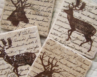 Natural Stone Coasters Woodland Deer Coasters Tile Coasters Natural History Decor Hunting Theme Coasters Masculine Gift