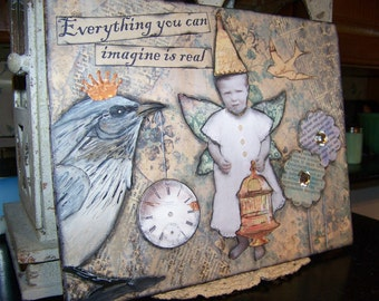 8 x 10 Art Print from Original Mixed Media Vintage Bird and Fairy Collage