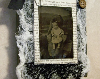 Original Vintage Collage Vintage  Tintype Collage Vintage Lace Buttons Collage Mixed Media
