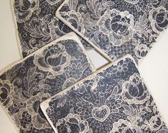 Tile Coasters Black Lace  Natural Stone Coasters Vintage Lace  Print Set of 4 Heart and Wings Vintage Lace Black White