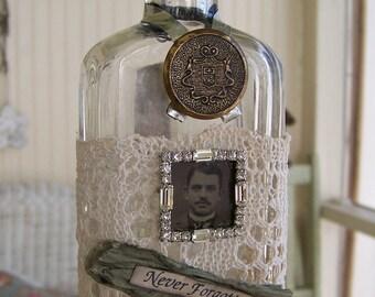 Altered  Apothecary Bottle  Vintage Art Bottle Antique Tintype  Antique Bottle Vintage Apothecary Altered Art Bottle
