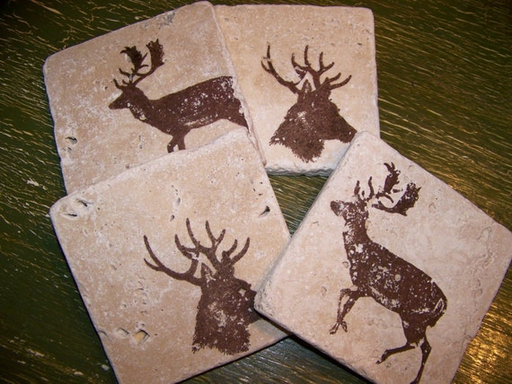 Natural Stone  Coasters RUSTIC WOODLAND Deer Coasters Tile Coasters Handmade Coasters