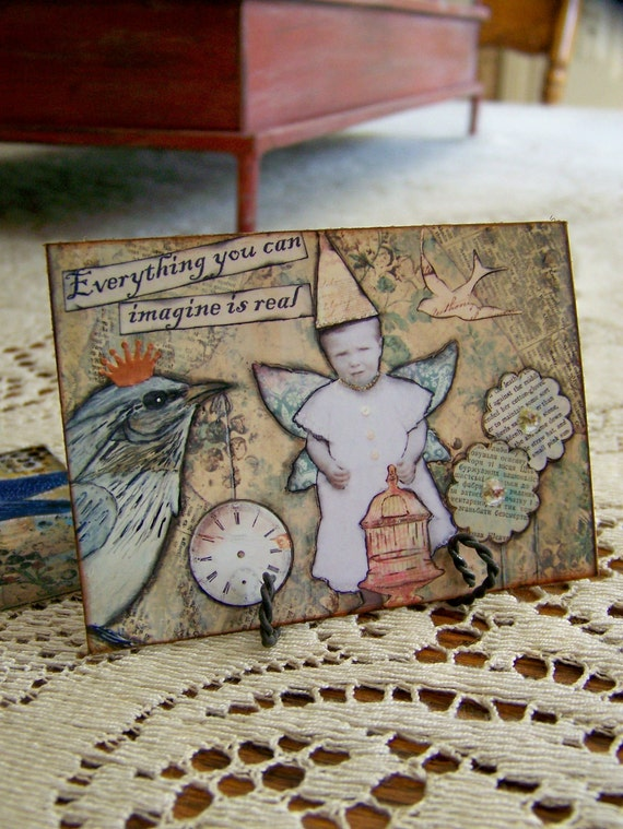 ACEO ATC Print of Original Mixed Media Collage FLY