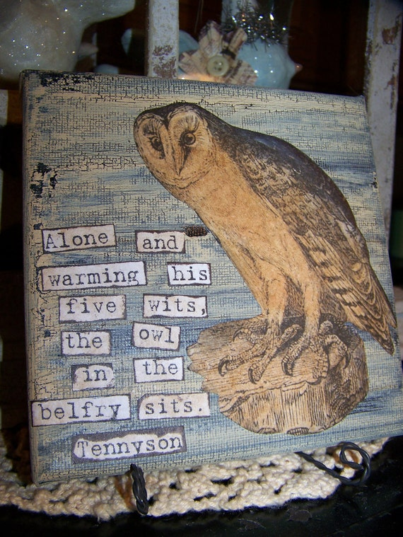 Original Owl Art Canvas Collage Mixed Media Wrapped Canvas with Stand Vintage Owl Woodland Owl