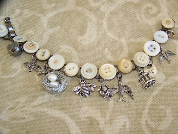 RESERVED  for Rhett Vintage Button Bracelet Altered  Charm Bracelet Antique Charm Bracelet