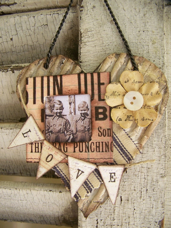 Vintage Altered Art Collage Vintage Mixed Media Cottage Style Heart Wall Hanging Antique Paper Heart